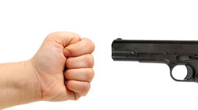 Male hand and a gun Royalty Free Stock Images