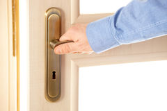 Male hand on handle. Opening or closing door Royalty Free Stock Photos