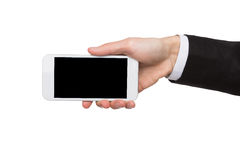 Male hand hold blank mobile phone screen Stock Images