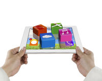 Male hand hold tablet with apps Royalty Free Stock Image