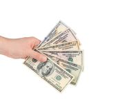 Male hand holding american dollar-bills. Royalty Free Stock Image