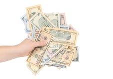 Male hand holding american dollar-bills. Royalty Free Stock Image