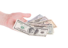 Male hand holding american dollar-bills. Royalty Free Stock Photo