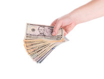 Male hand holding american dollar-bills. Royalty Free Stock Photography