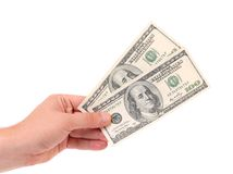 Male hand holding american Dollar-bills. Stock Photos