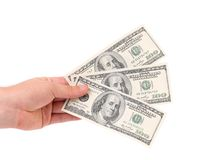 Male hand holding american Dollar-bills. Stock Photo