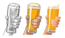 Male hand holding a beer glass. Drawing in three graphic styles. Vintage vector engraving and flat illustration for web, poster, invitation to invitation to Royalty Free Stock Photos