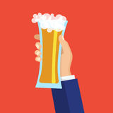 Male hand holding a beer glass. Vector flat illustration. Male hand holding a beer glass. Vector flat illustration for web, poster, invitation to party and Royalty Free Stock Photography