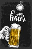 Male hand holding a beer glass. Vintage  engraving illustration for label, poster, menu.  on dark background. Happy Royalty Free Stock Photography