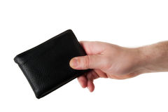 Male Hand Holding a Black Leather Wallet Stock Photos