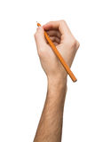 Male hand holding black pencil isolated on white Royalty Free Stock Image
