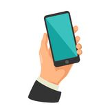 Male hand holding black smart phone. Touching blank screen. Flat design. Vector illustration on white isolated background. For icon, info graphic stock illustration