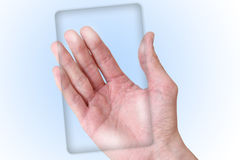Male hand holding blank. Male hand holding future blank smart phone Stock Photography