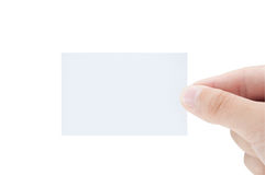 Male hand holding blank business card isolated Stock Image