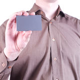Male hand holding a blank card Royalty Free Stock Photography