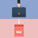 Male hand holding briefcase and female hold shopping bag Stock Photography