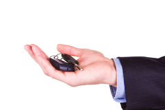 Male hand holding a car key . New car concept Stock Photography