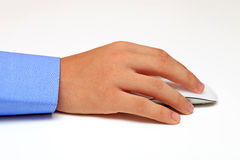 Male hand holding computer mouse Royalty Free Stock Photo