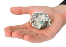 Male hand holding crumpled dollar Royalty Free Stock Images