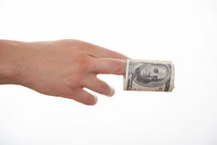 Male hand holding dollars Royalty Free Stock Photo
