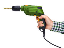 Male hand holding electric drill Royalty Free Stock Photo