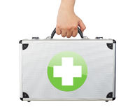 Male hand holding equipments luggage first aid isolated white ba Royalty Free Stock Photo