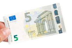 Male hand holding euro money banknote Stock Photos