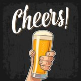 Male hand holding a full beer glass with foam. Cheers toast lettering. Vector color flat illustration for web, poster, greeting card, invitation to party.  on Royalty Free Stock Image