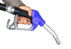 Male hand holding gas pump Stock Photo