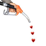 Male hand holding gas pump Stock Image