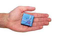 Male hand holding gift box Stock Photos
