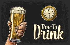 Male hand holding glass beer and antique pocket watch. Vintage engraving illustration for web, poster, invitation to party. Time to Drink lettering. Isolated stock illustration