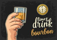 Male hand holding glass bourbon and antique pocket watch. Vector flat illustration for web, poster, invitation to party. Time to Drink lettering. Isolated on Stock Photography