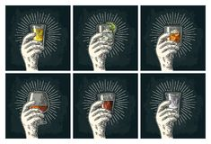 Male hand holding glass brandy, tequila, gin, vodka, rum, whiskey. Male hand holding glass with brandy, tequila, gin, vodka, rum, whiskey. Vintage vector color Stock Photos