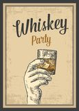 Male hand holding a glass with whiskey and ice cubes. Vintage  engraving illustration for label, poster, invitation to a par Royalty Free Stock Images