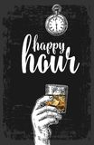 Male hand holding a glass with whiskey and ice cubes. Vintage vector engraving illustration for label, poster, menu. Dark background. Happy hour Stock Images