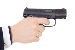 Male hand holding gun isolated on white Stock Images