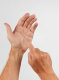 Male hand holding invisible smartphone Stock Photography