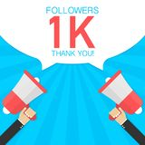 Male hand holding megaphone with 1000 followers, Thank You speech bubble. Concept for social networks, promotion and advertising. Vector stock illustration vector illustration