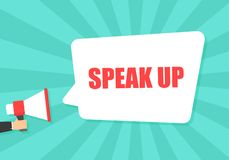 Male hand holding megaphone with speak up speech bubble. Loudspeaker. Banner for business, marketing and advertising royalty free illustration
