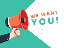 Free Male Hand Holding Megaphone With We Want You Speech Bubble. Banner For Business. Vector Stock Illustration. We Want You Royalty Free Stock Photo - 140057475