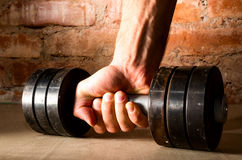 Male hand is holding metal barbell Stock Image