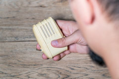 Male hand holding microphone Stock Image
