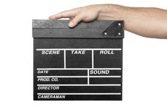Male hand holding movie production clapper board isolated Royalty Free Stock Photo