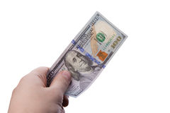 Male hand holding one hundred dollar banknotes Royalty Free Stock Images