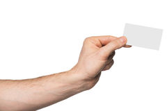 Male hand holding paper card Stock Photo