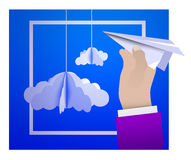 Male hand holding a paper plane against the sky with paper clouds in the style of origami. Vector illustration Royalty Free Stock Photo