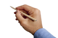 Male hand holding pencil on white background. A male hand holding a pencil. On white background, isolated. Also available in PNG format. The man is wearing a Royalty Free Stock Images