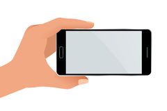 Male hand holding a phone with blank screen. Flat Isolated illustration on white background Royalty Free Stock Photography