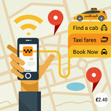 Male hand holding phone with service. Vector modern flat creative infographics design on public taxi service application featuring yellow modern taxi cab. Male Royalty Free Stock Image